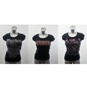 Lot of 3 GUESS Women's Black T Shirts Small & Med